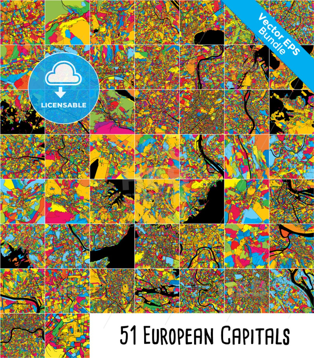 51 European Capital Cities, Colorful Maps Bundle