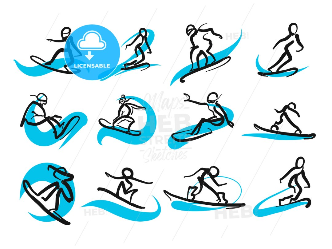 Set of sketched freestyle snowboarding people