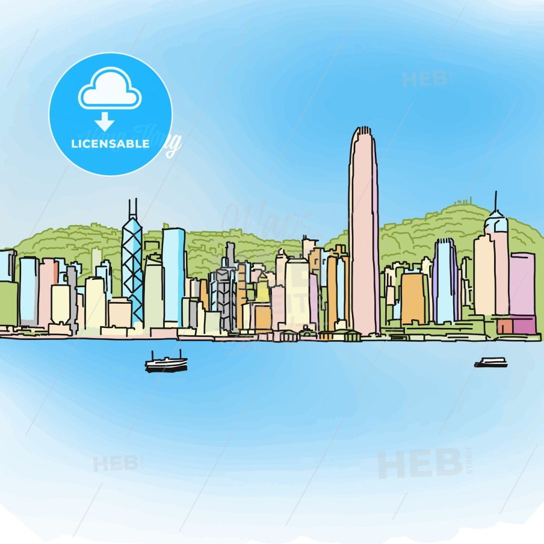 Hong Kong Colored Panorama Banner