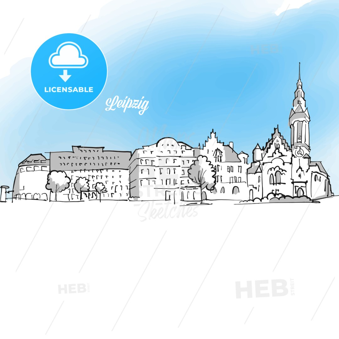 Leipzig Panorama Outline Banner Illustration