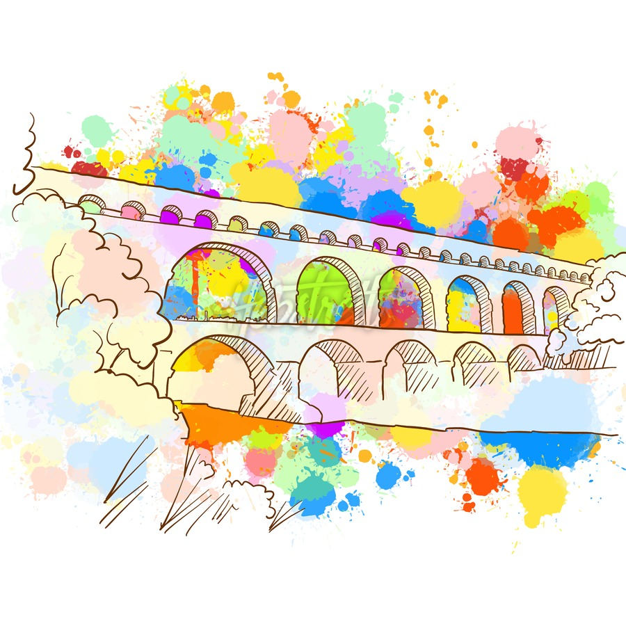 Colorful Pont du Gard Sketch