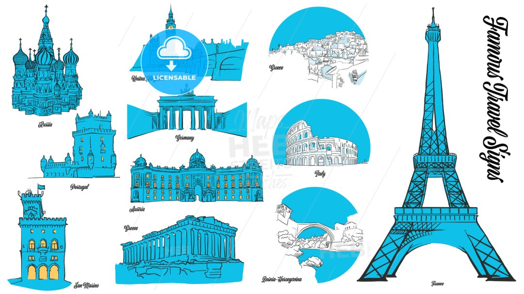 European Travel Landmarks Set
