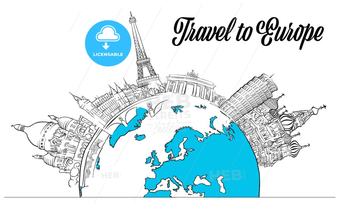 Sketched Landmarks Europe and Globe