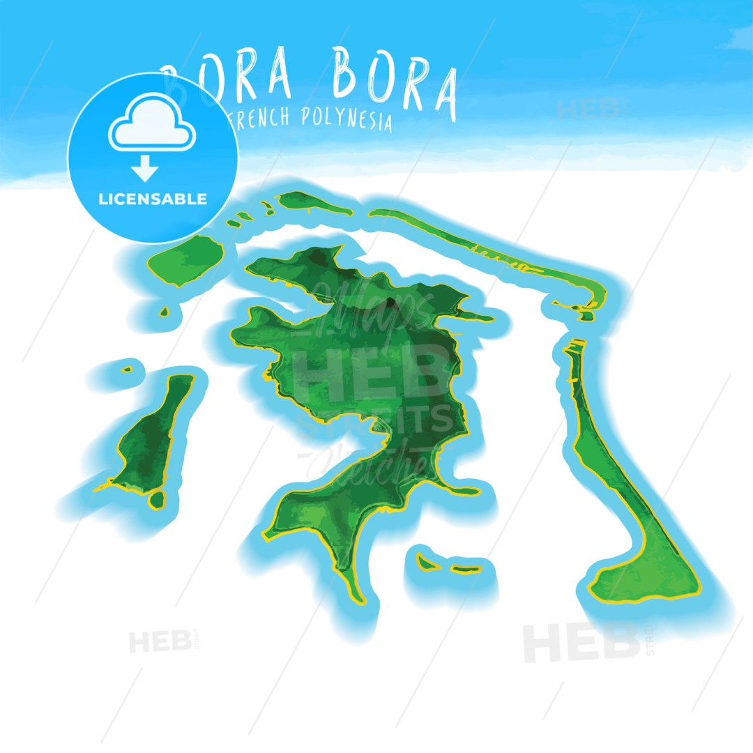 3D Island Map of Bora Bora
