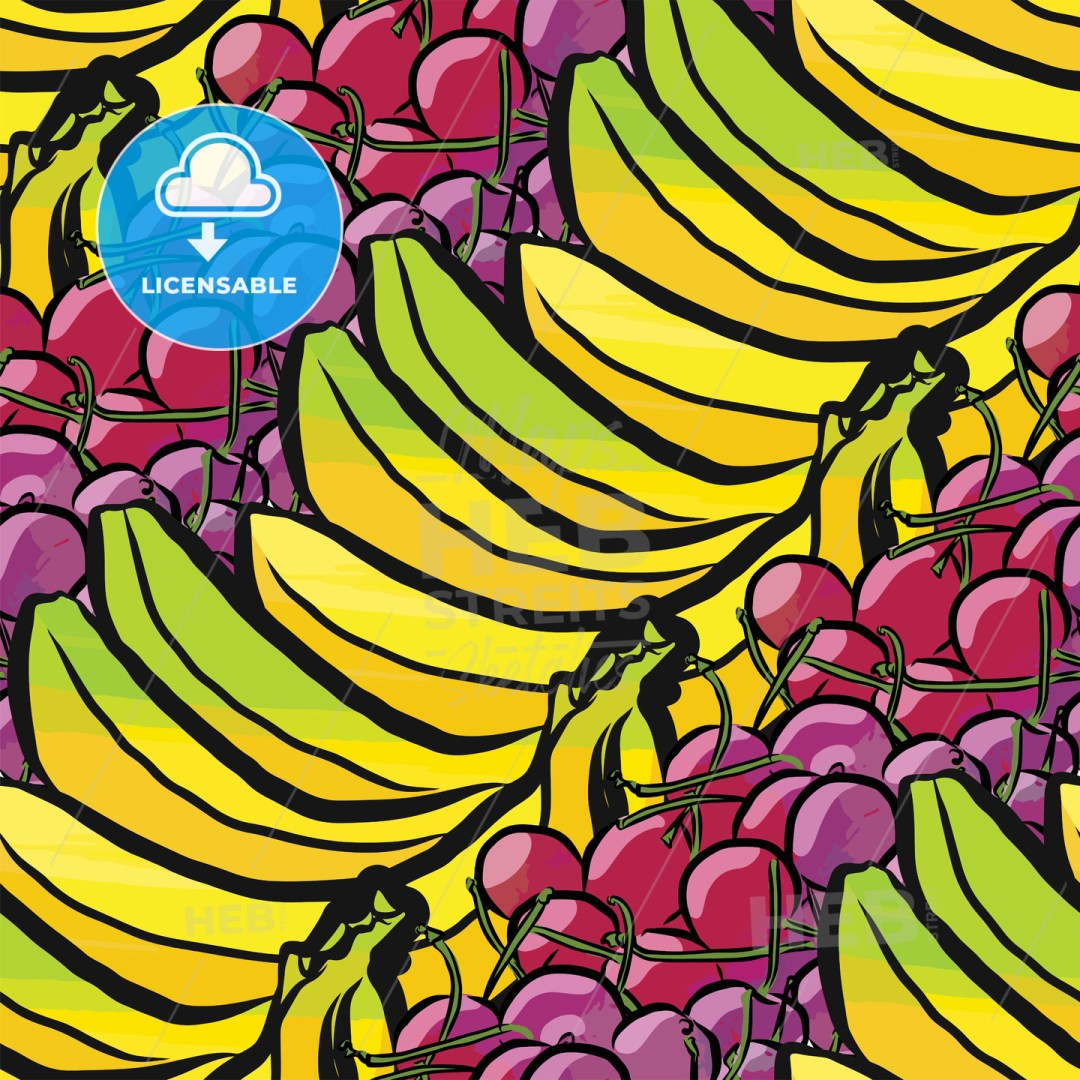 seamless pattern of bananas and cherries