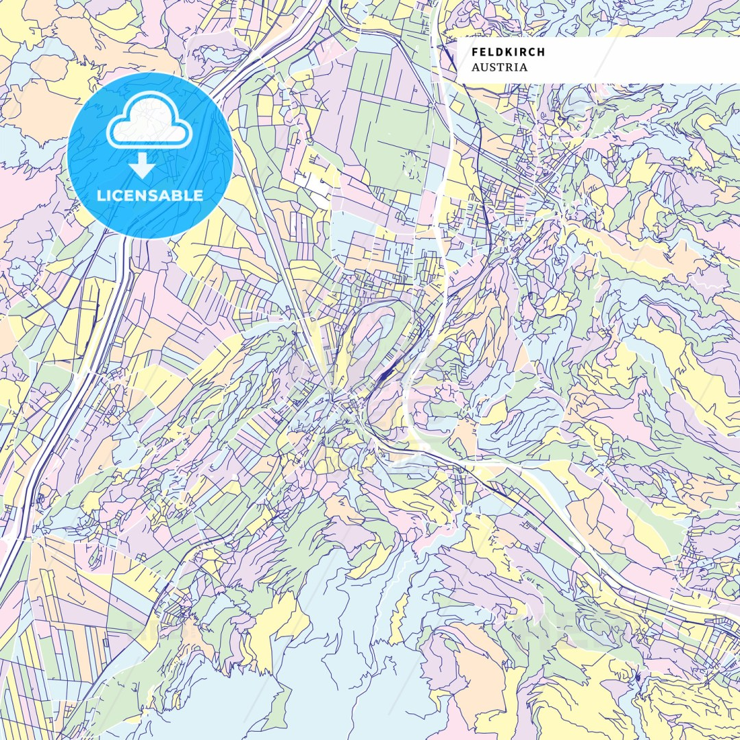 Colorful map of Feldkirch, Austria