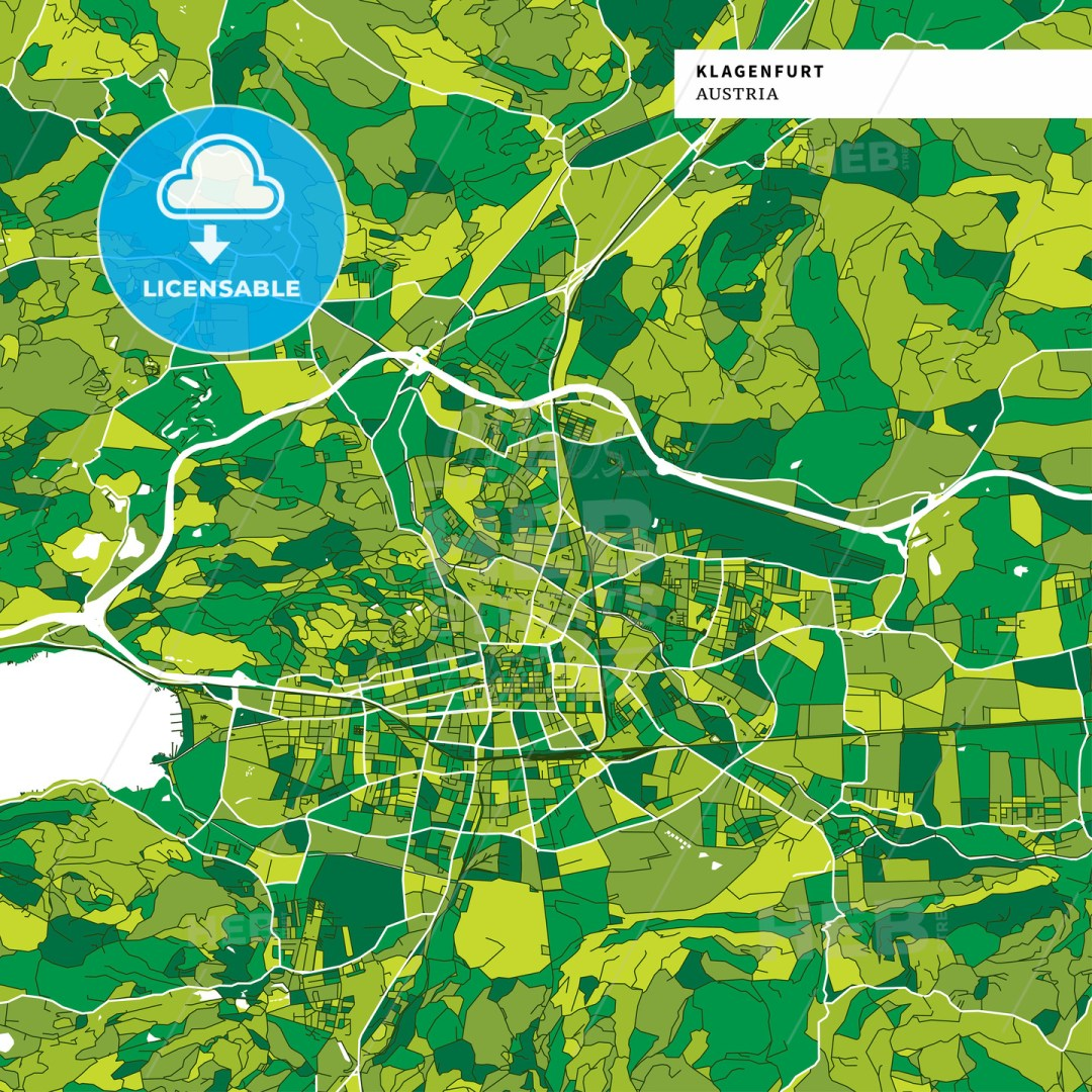 Colorful map of Klagenfurt, Austria