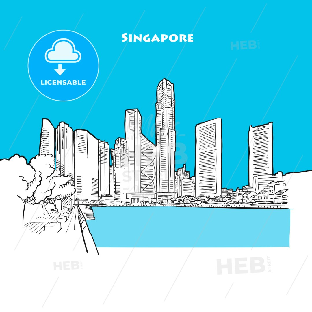 Drawing of Singapore downtown.