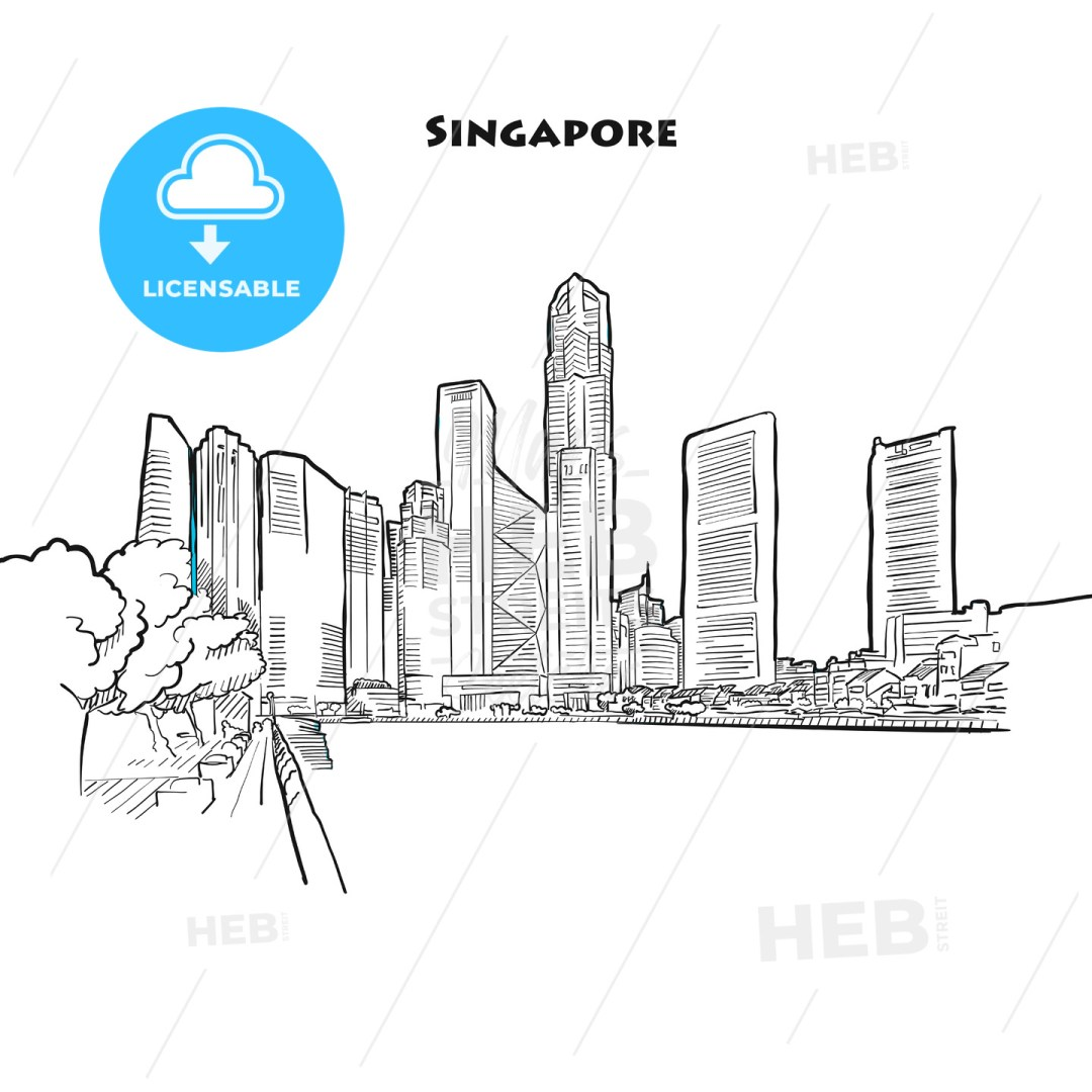Singapore skyline drawing
