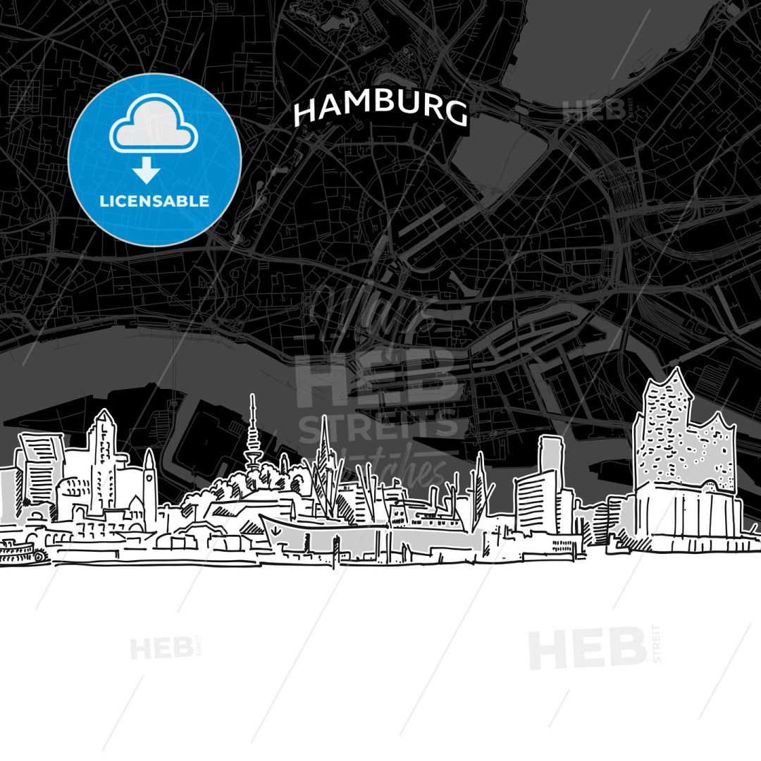 Hamburg skyline with map