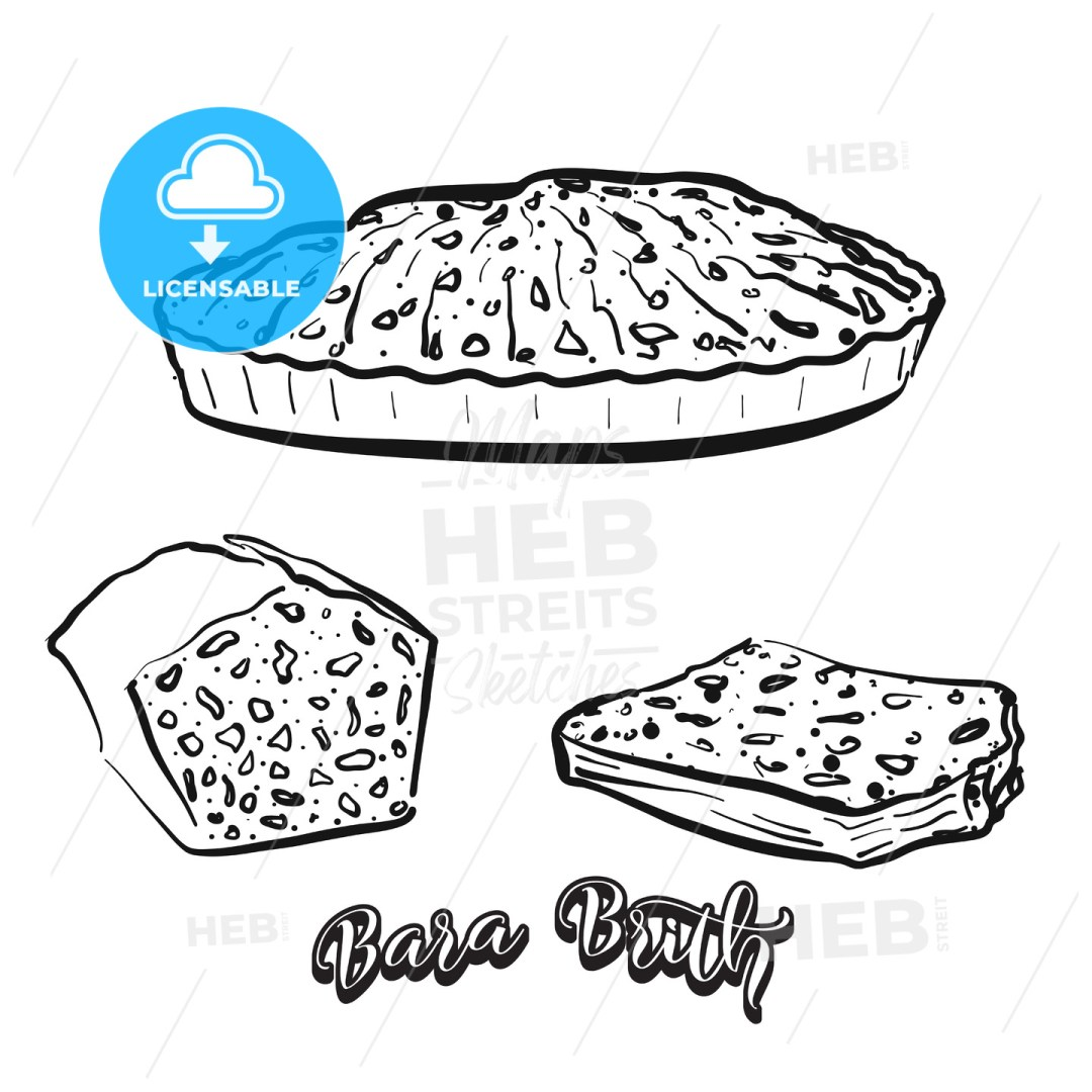 Hand drawn sketch of Bara Brith bread