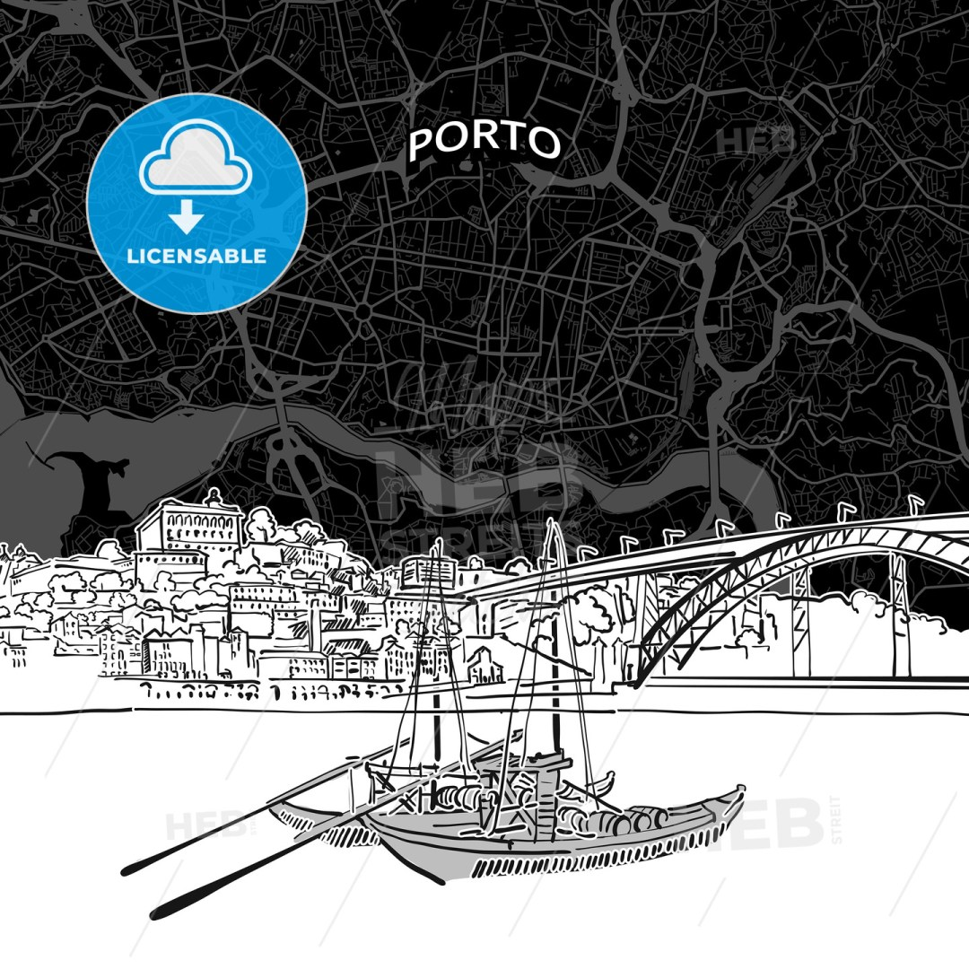 Porto skyline with map