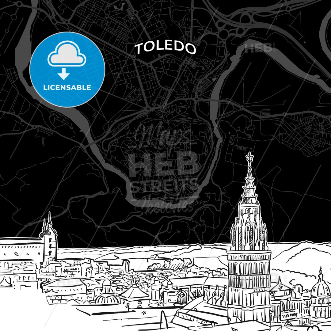 Toledo skyline with map