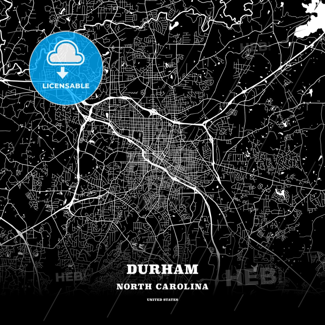 Black map poster template of Durham, North Carolina