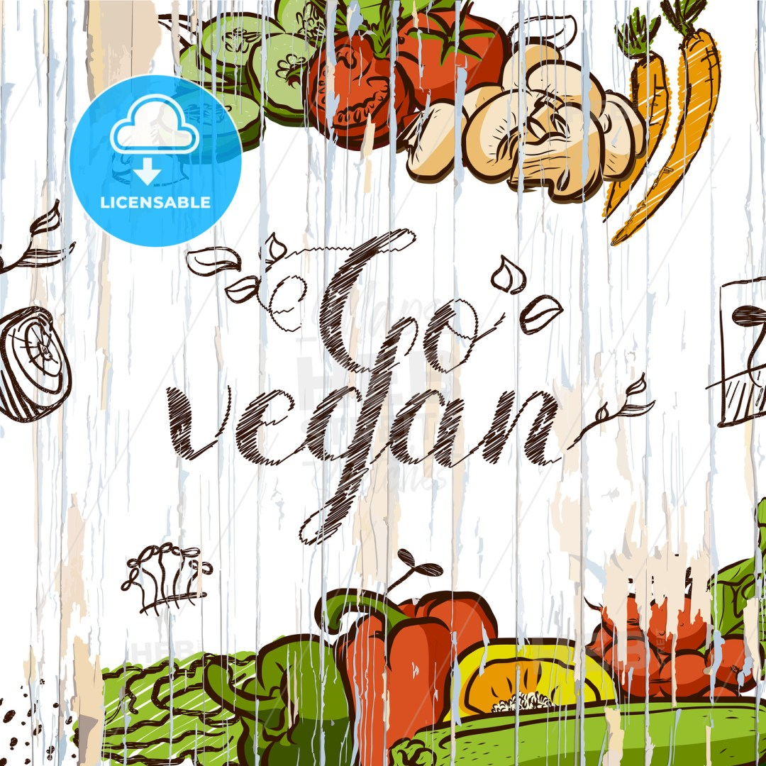 Go vegan vintage food illustration