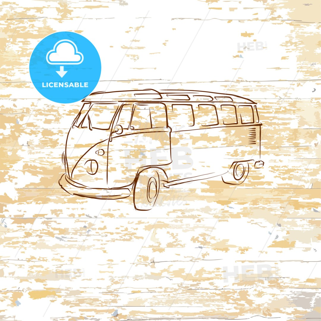 Vintage bus drawing on wooden background