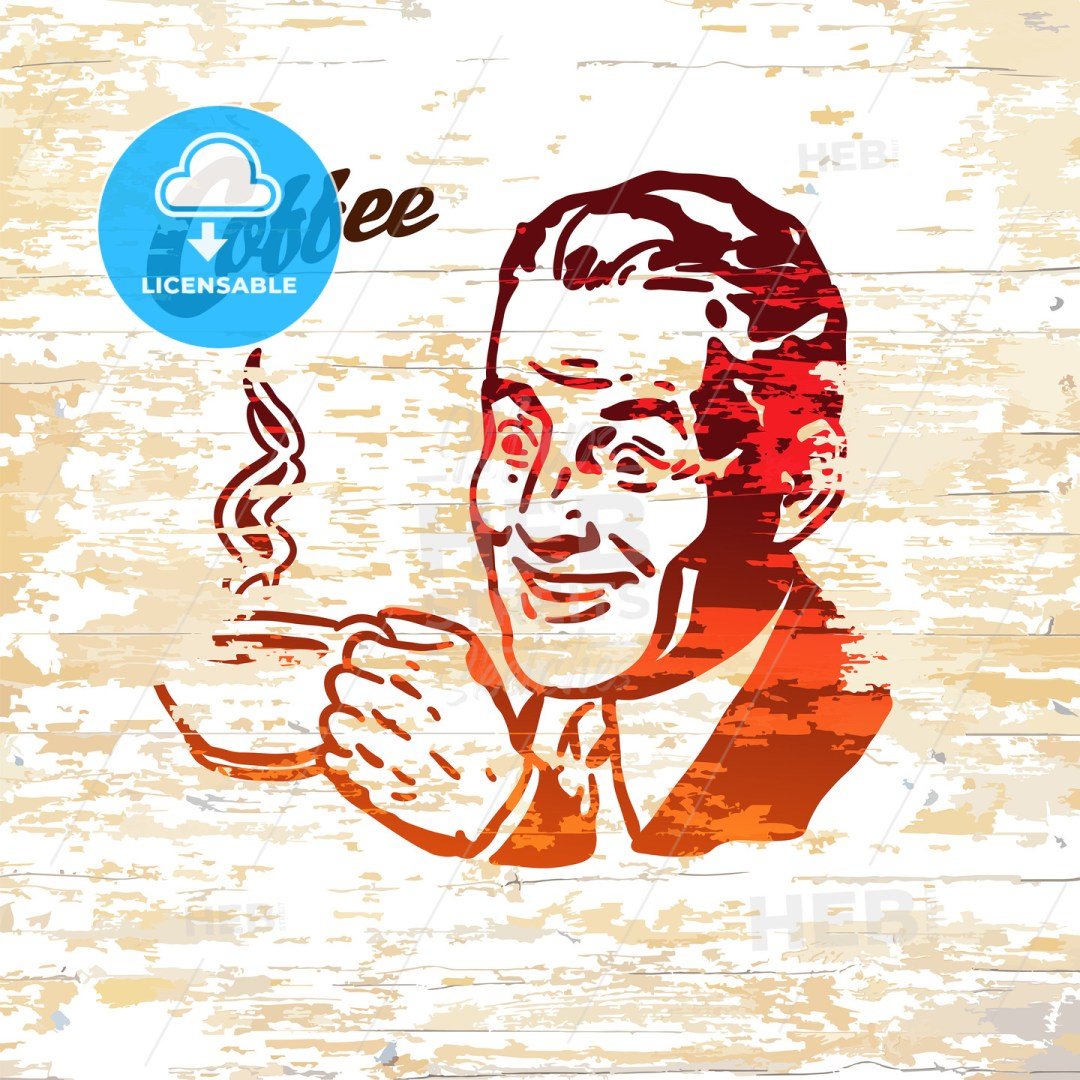 Vintage coffee men icon on wooden background