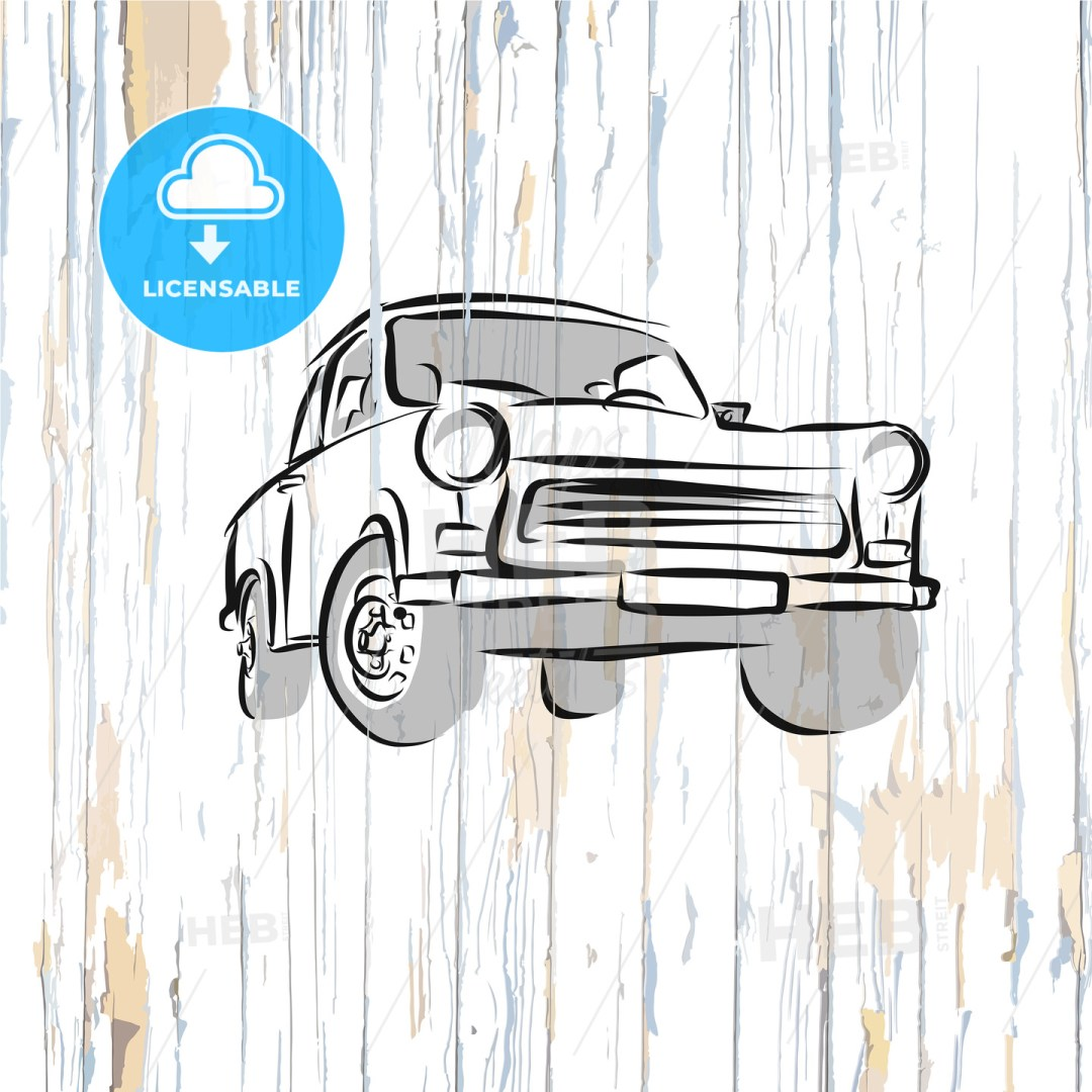 Vintage german car on wooden background
