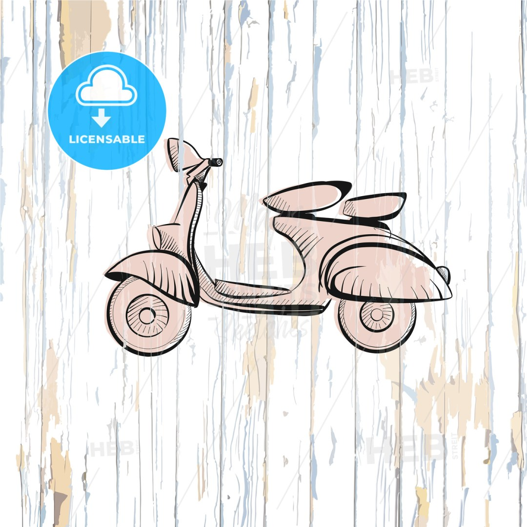 Vintage scooter drawing on wooden background
