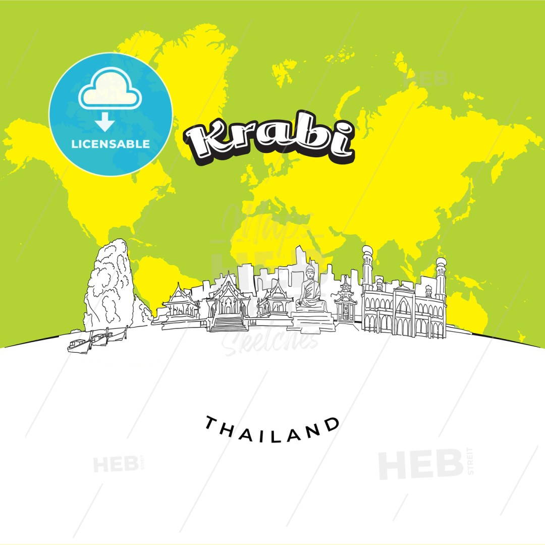 Krabi Thailand panorama drawing