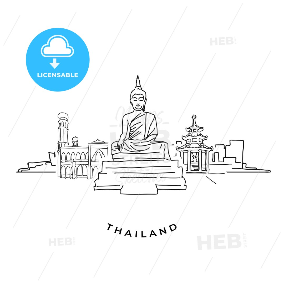 Thailand buddha and landmarks drawing