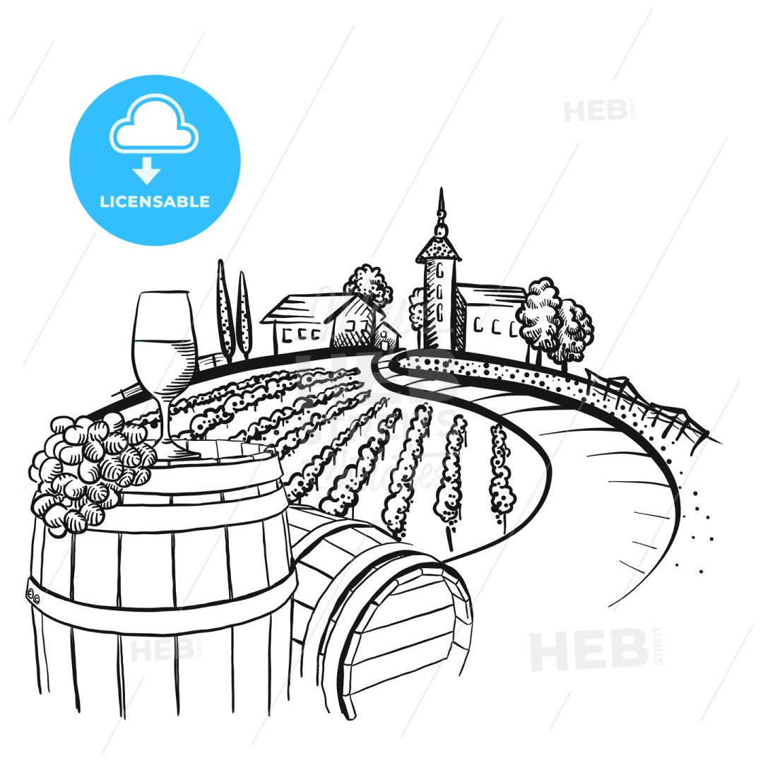 Vineyard barrel and glass drawing