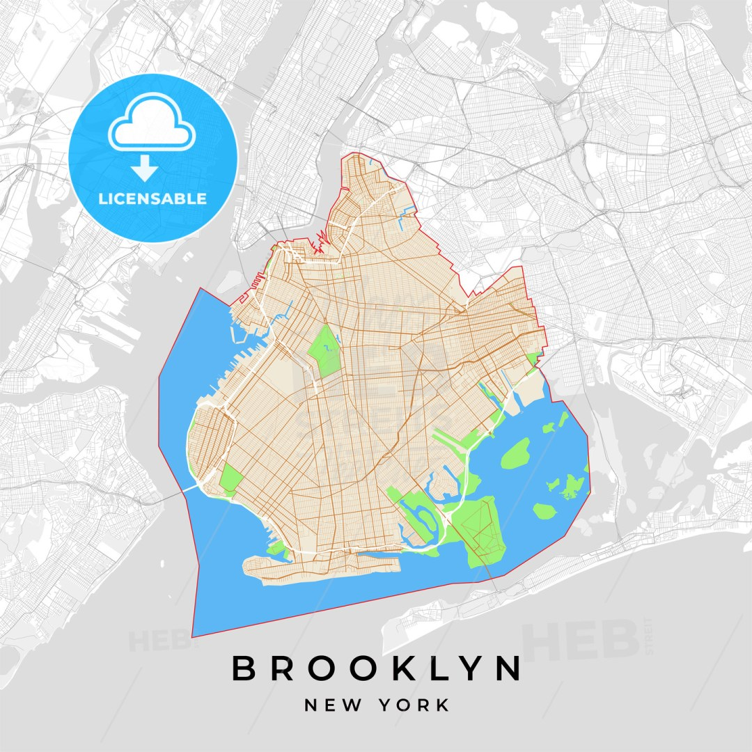 Vector map of Brooklyn, New York, USA