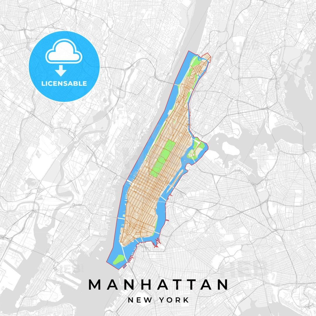 Vector map of Manhattan, New York, USA