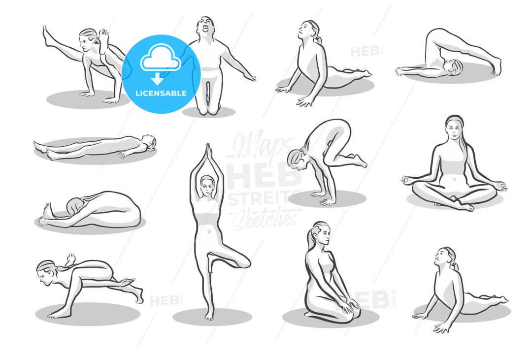Set of twelve yoga poses