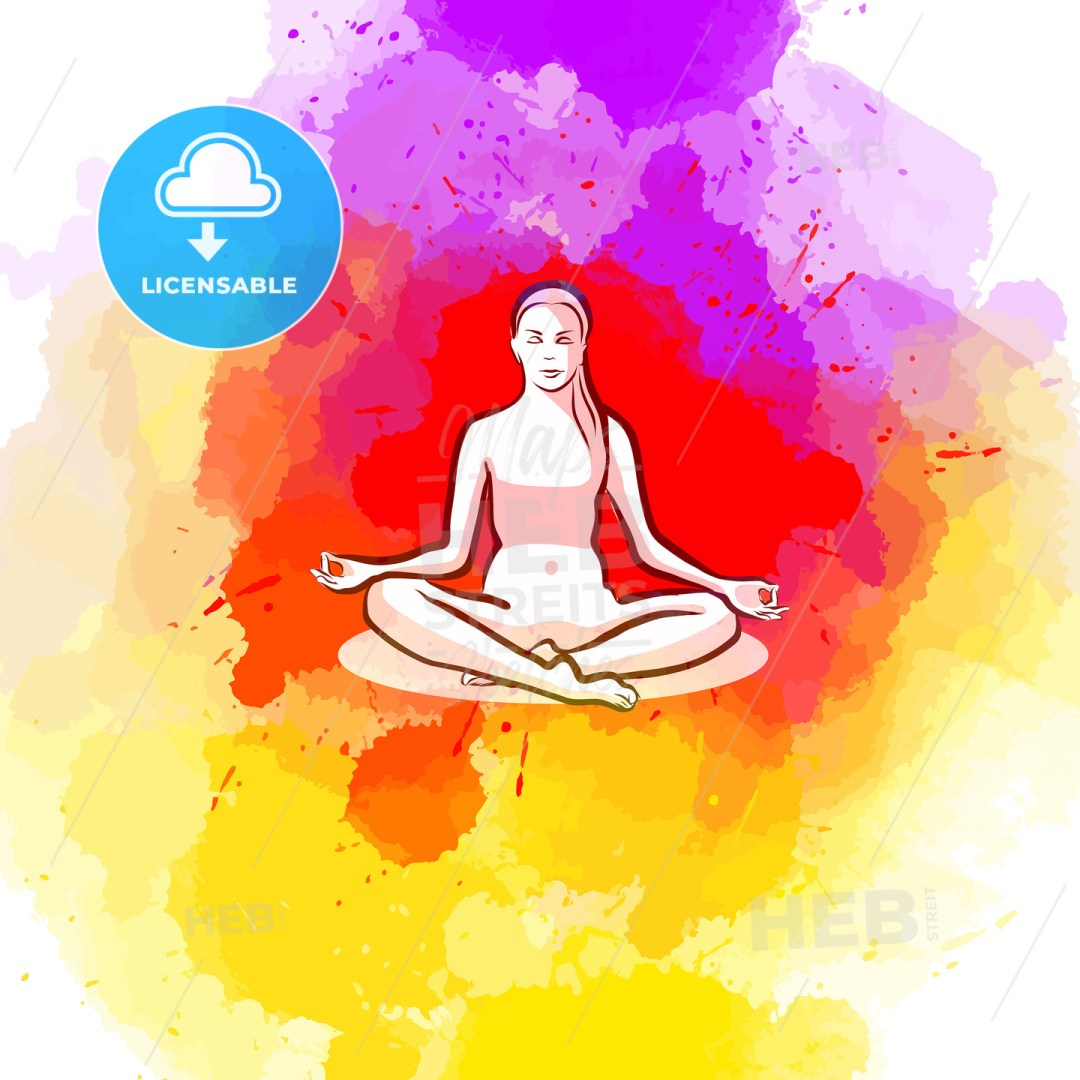 Sitting yoga pose on colorful background