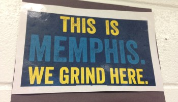 A poster in a classroom at The Soulsville Charter School in Memphis from a Grizzlies professional basketball game shows the grit students and faculty strive for.