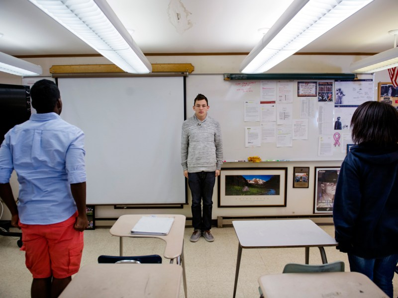 Jacob Galindo, 18, leads a final salute during a Marine Corps Junior ROTC class at Quantico Middle/High School. In a typical year, about 10 percent of the Department of Defense Education Activity's seniors report their plans to enlist in the military after graduation.