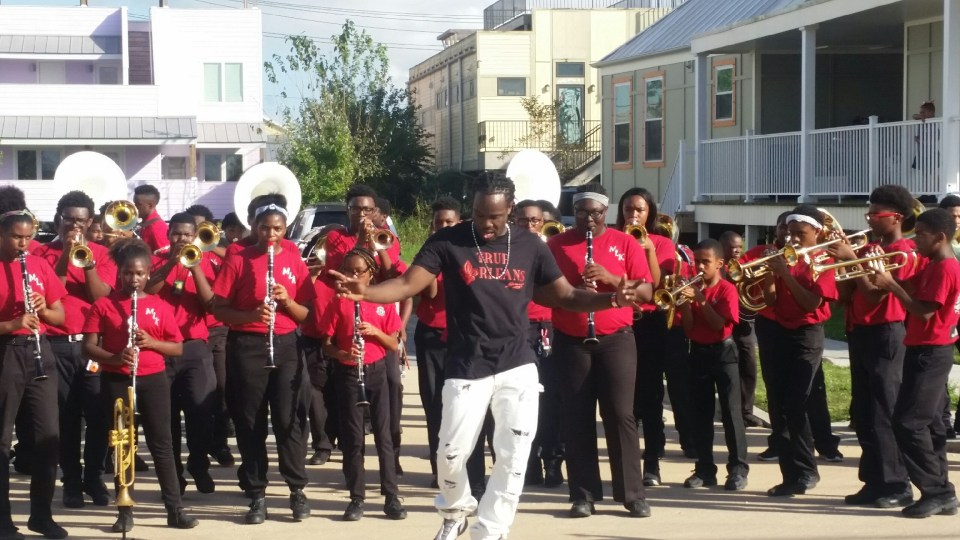Shamarr Allen performs in New Orleans with the Martin Luther King Jr. Marching Band.