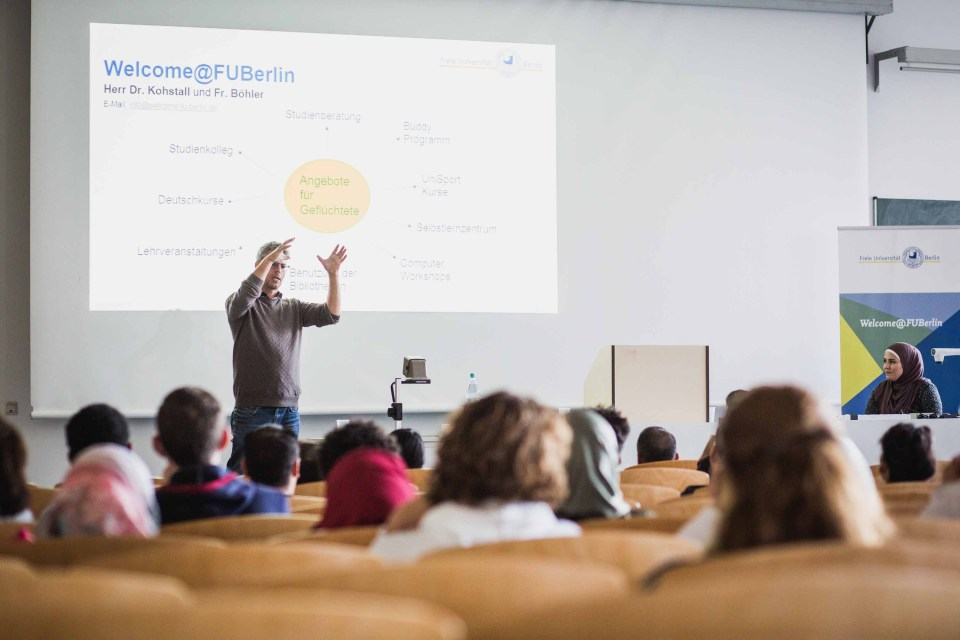 Florian Kohstall, who directs the program at one Berlin university to help refugee students, at an orientation session.