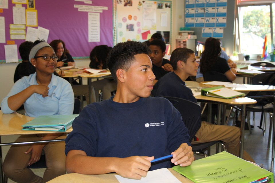 Students at the Margarita Muñiz Academy in Boston take classes in Spanish and English on their path toward being able to read and write at high levels in both languages.
