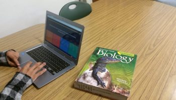 A special education student at South Hills High School takes an online quiz about RNA. The district's reforms to special education have included making sure students use the same textbooks as their general education peers.