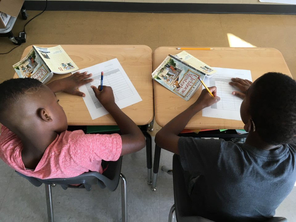 Third-grade campers spend the morning doing academic work; afternoons are reserved for enrichment classes like basketball, poetry, or drama.