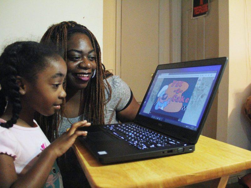 LeMya Vaughn completes an activity on her kindergarten readiness program, UPSTART.
