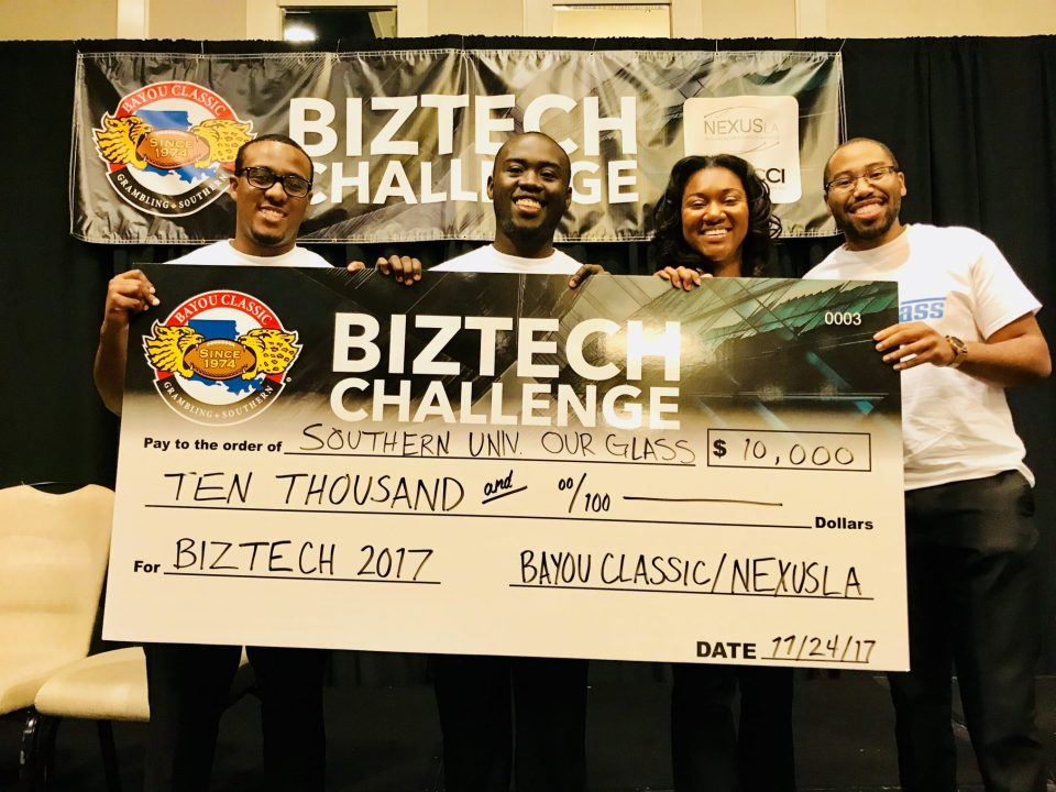 Members of the BizTech Challenge winning team (from left to right): Rashad Pierre, senior, business management major; Nathan Morrison, senior, mechanical engineering and supply chain management; Ashley Lewis, sophomore, electrical engineering; and Polite Stewart, Jr., senior, mechanical engineering and physics.