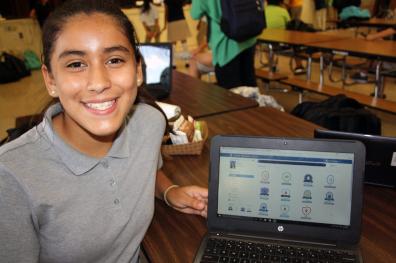 Melissa Miranda, a seventh-grader at Edison Computech 7-8 in Fresno, said she is more likely to come to school every day because she knows that gets her points in Strides.