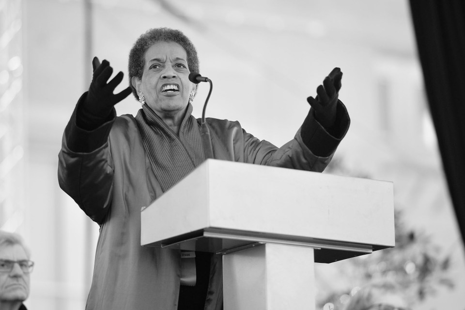 Myrlie Evers, widow of slain NAACP leader Medgar Evers, speaks at the opening of Mississippi's new civil rights museum.