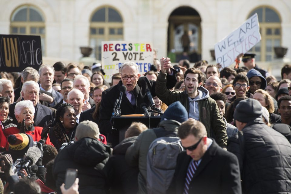Washington, D.C. — Senate Minority Leader Chuck Schumer (D-N.Y.) and students at a March 14 rally in front of the U.S. Capitol during a national walkout by students.