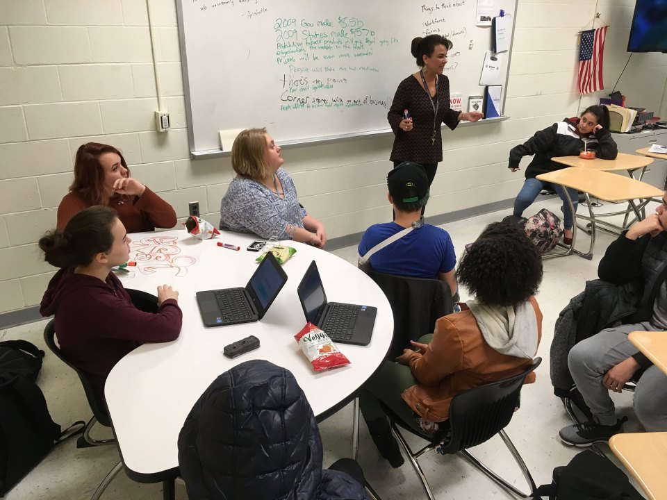 Michelle Strout, Manchester School of Technology business teacher, teaches a freshman soft skills class.