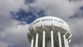 Flint, Michigan — The water tower of the Flint Water Treatment plant.