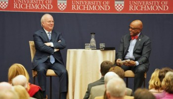 Karl Rove, left, answers questions from University of Richmond President Ronald A. Crutcher during his talk Thursday night.