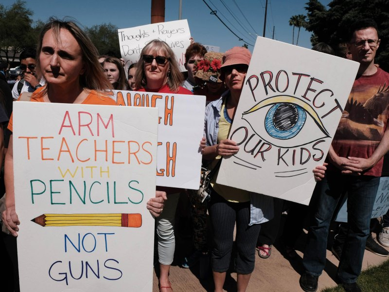 A protest against gun violence on the 19th anniversary of the Columbine massacre, in which 12 students and a teacher were gunned down in a Colorado school.