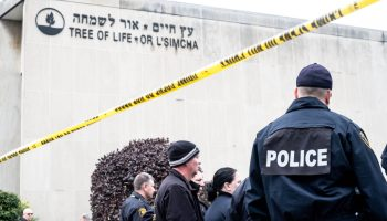 October 27, 2018 — Pittsburgh, PA, United States — Police outside the Tree of Life Synagogue in Squirrel Hill, Pittsburgh, PA in the aftermath of the shooting that killed 11 people on October 27.