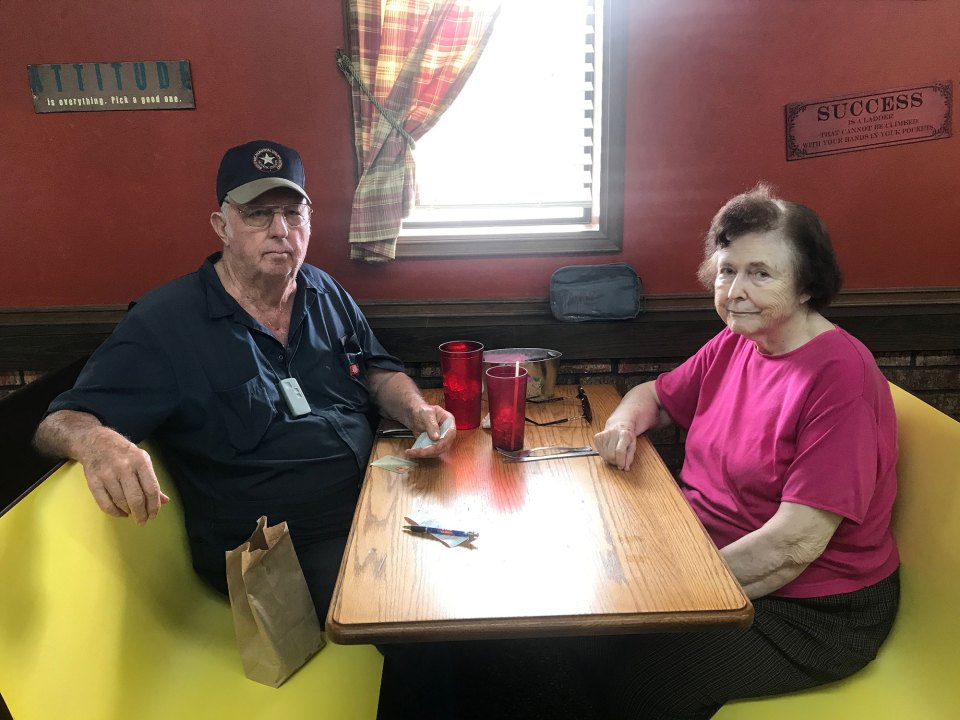 "Harvey and Patsy Milton talk immigration after lunch at The Red Onion in Honey Grove. ""These people are coming here to better themselves but they're breaking the law,"" said Harvey, who worked in public schools for 56 years."
