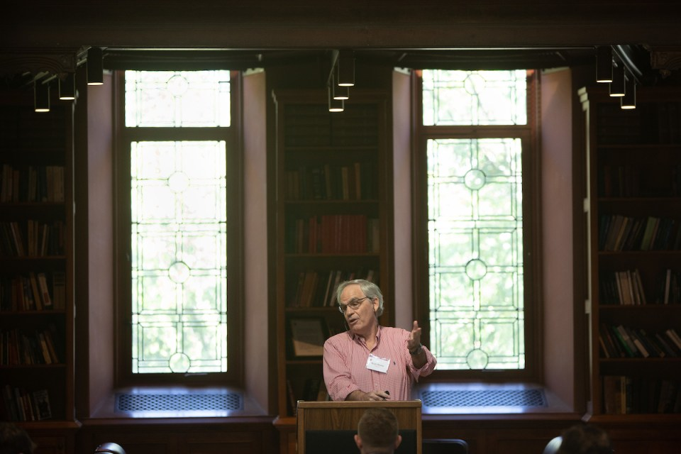 Bunker Hill Community College professor Wick Sloane speaks at a meeting of the Ivy League Veterans Council at Princeton University. For the past several years, Sloane has authored a survey of undergraduate veteran enrollment at the nation's top colleges and universities.