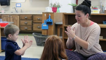 Rachel Rodriguez teaches a small-group lesson in her classroom at Hill Country Montessori.